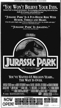Directed by Steven Spielberg. Starring Sam Neil, Laura Dern, and Jeff Goldblum. Jurassic Park Trilogy, Jurassic Park 1993, Jurassic Movies, Dinosaur Movie, The Good Dinosaur, Jurassic World 2015, Saga, World Movies, Cinema Posters