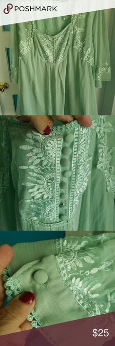 Mint green blouse Mint green with embroidery and lining dyed to match...gauze material. New, never worn. Tops Blouses
