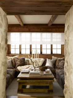 Ralph Lauren Home #AlpineLodge How fabulous is that coffee table? Focus on the beauty of nature.