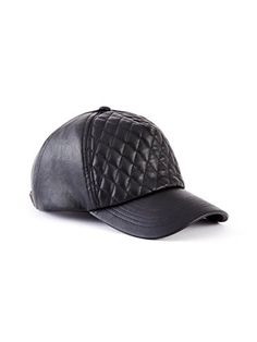 Quilted Faux-Leather Baseball Cap at Guess 81c455361771