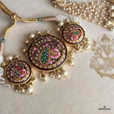 This brilliant handcrafted piece of jewellery in gorgeous colours is an eternal symbol of love and etnicity. By Ra Abta, available at Minerali. Metal Clay Jewelry, Pendant Jewelry, Gold Pendant, Indian Wedding Jewelry, Bridal Jewelry, Trendy Jewelry, Fashion Jewelry, India Jewelry, Ethnic Jewelry