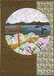 Postcards From Japan Torii Gate applique quilt pattern from Story Quilts.