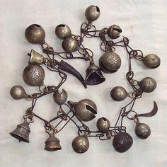 Tibetan Ritual Objects - 19th Century Set of Shaman's Bells on Chain, Nepal