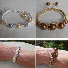 Bracelet shamballa en coton ciré avec des perles vénitiennes / Shamballa bracelet with cired coton and venitian beads