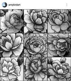b9f949836 Blackwork dotwork stippling peony flower tattoos by Amy Williams Tattoo
