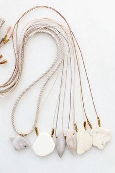 Marble and magnesite necklaces