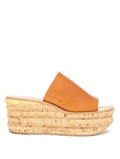 Chloé Camille leather wedge mules
