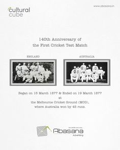 Anniversary of the First Cricket Test Match Agency: Abasana Advertising www. Cricket Test Match, England Australia, Social Advertising, The One, Cube, Creativity, Anniversary, Social Media, Social Networks