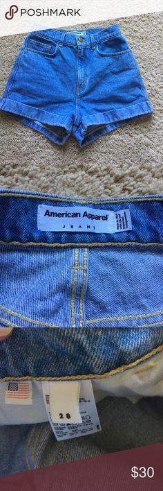 American Apparel High Waisted Shorts Light blue denim wash. Worn once. American Apparel Shorts