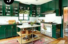 Today we will show you the 5 kitchen trends 2018 that will be IN because the new year also means new kitchen design. Dark Green Kitchen, Green Kitchen Cabinets, Custom Kitchen Cabinets, Kitchen Cabinet Colors, White Cabinets, Colored Cabinets, Kitchen Storage, Kitchen Trends 2018, Industrial Kitchen Island