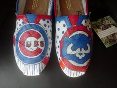 Chicago Cubs hand painted TOMS , MUST HAVE THESE, anyone wanna buy them for me?!?!?!?! =]