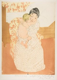Mary Cassatt, (American, 1844–1926). Maternal Caress, 1890-1. The Metropolitan Museum of Art, New York. Gift of Paul J. Sachs, 1916 (16.2.5) #kids