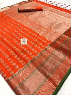 Orange NEW Banarasi SILK WEAVING Saree Bridal Gift Occasional Festive Wear Party Wedding Indian attire Sari with UnStitched Running Blouse Style : Indian Sari / Saree Fabric : Art Silk Length : 5 Yard (Unstitched Blouse Included) Width : Yard /
