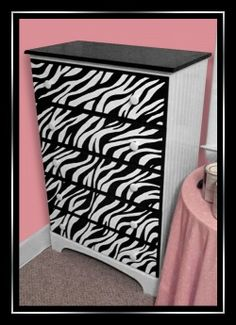 "Painting a Zebra Print Dresser {{I could do this for the girls. Some zebra, some leopard. I already painted Carter's ""Rocking Zebra"" and his ceiling fan ;"