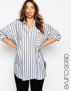 Image 1 of ASOS CURVE Oversized Shirt in Stripe