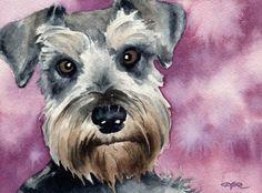 """Miniature Schnauzer"" Dog Art Print Signed by Artist DJ Rogers"