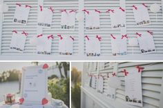 Seating Plan Wedding con fotos de los invitados adornado con farolillos blancos y lazos rojos.