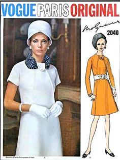 1960s Dress Pattern Vogue Paris Original 2040 Molyneux Mod A Line Day or Evening Dress Button Tab Neck Vintage Sewing Pattern