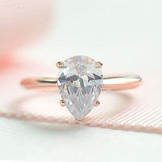 Pear Cut Engagement Ring Teardrop Proposed Ring by ZakviJewels