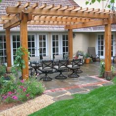 Stamped Concrete Backyard With Pergula Design, Pictures, Remodel, Decor and Ideas - page 3 #pergoladesigns