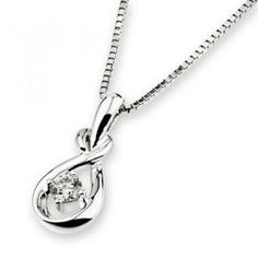 18K White Gold Droplet Solitaire Diamond Pendant (1/10 cttw) (FREE 925 Silver Box Chain)