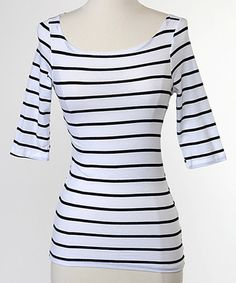 This White Stripe Ahoy Tee by White Plum is perfect! #zulilyfinds