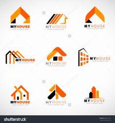 Orange And Black House Logo Set Vector Design - 384721051 : Shutterstock