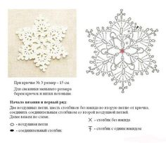 Love the snowflake, to bad the instructions are in Russian. At least they have g… – Snowflakes World Crochet Diagram, Crochet Motif, Crochet Doilies, Crochet Flowers, Crochet Lace, Crochet Stitches, Crochet Snowflake Pattern, Crochet Stars, Crochet Snowflakes