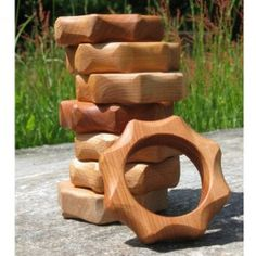 Hardwood Teether. Handcrafted in Maine and finished with organic beeswax. From Bella Luna Toys. $10.95