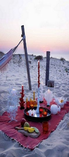 Sunset picnic on the beach