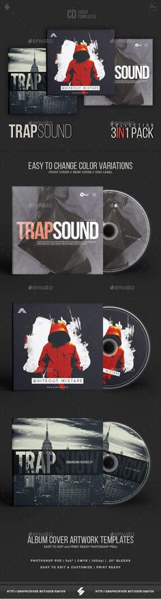 Trap Sound Collection  CD Cover Artwork Templates Bundle — Photoshop PSD #underground #covers • Available here ➝ https://graphicriver.net/item/trap-sound-collection-cd-cover-artwork-templates-bundle/20916313?ref=pxcr