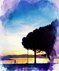 Cagliari - Marina di Bonaria. #travel #discover #viaggio #viaggiare #onde #waves #marinadibonaria #bonaria #mediterraneo #mediterranean #acquerello #sunset #sole #sun #mare #sea #tramonto #natura #nature #turismo #tourism #cultura #culture #italy #italia #sardinia #sardegna #cagliari #congliocchidiunturista #light