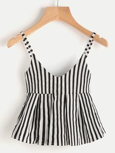Shop V Neckline Vertical Striped Babydoll Cami Top online. SheIn offers V Neckline Vertical Striped Babydoll Cami Top & more to fit your fashionable needs. Mode Outfits, Trendy Outfits, Summer Outfits, Fashion Outfits, Fashion Fashion, Fashion Ideas, Vintage Fashion, Fashion Styles, Fashion Women
