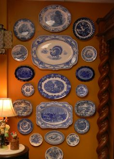English Blue and white and flow blue china Blue Dishes, White Dishes, Blue And White China, Blue China, Delft, Chinoiserie, Plate Display, China Display, Display Design