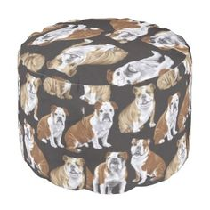 """Title : English_Bulldogs_Bulldog_Fabric Pouf  Description : """"Novelty-Gifts"""", """"Fun-and-Humor"""", """"Unique-Gifts"""", """"Animal-Lovers"""", """"Pet-Lovers"""", """"Retro-Vintage-Fabrics"""", """"Stylish-Home-Decor"""",  Product Description : <div>  Fabric: Grade A Woven Cotton    <div>    <p>Poufs are an easy way to incorporate more seating into a space that requires flexibility within its usage, without committing to larger furniture pieces. Custom poufs are an easy way to curate the perfect design and color to…"""