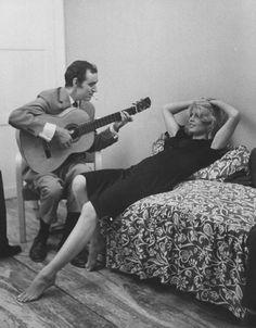 "theswinginsixties: "" Brigitte Bardot being serenaded by Charles Aznavour…"