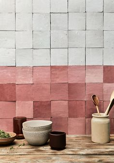 Dirty Pink and Ice Blue Zellige Tiles Clay Tiles, Ceramic Wall Tiles, Design Exterior, Interior Exterior, Stone Mosaic, Mosaic Glass, Pink Tiles, Tiles Texture, Decorative Tile
