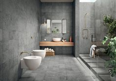 Interior Design colour trends 2017. Fessuarato from Grestec Tiles #interiordesign #interiorstyling #cement #concrete #foilage #greenery #plants#tiles #blush #navy