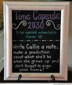 DIY Baby Time Capsule - perfect activity and gift for a baby shower or birthday! - we should do this for Baby T! 1 Year Birthday, Baby First Birthday, First Birthday Parties, Girl Birthday, First Birthdays, Birthday Diy, Birthday Ideas, Birthday Wishes, 1st Birthday Activities