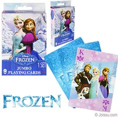 DISNEY'S FROZEN JUMBO PLAYING CARDS. Now you can play all of your favorite card games with Elsa and the rest of the Frozen characters. Instructions for crazy eights, go fish, rummy, snap and more card games included. Each deck gift boxed with hanging tab. Perfect for party favors, Easter basket treats and Christmas stocking stuffers.  Size 5 X 3.5 Inches, packaging 6 X 3.5 X 0.75 Inches