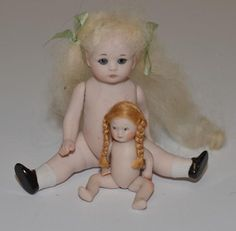 Vintage Doll Set Artist Miniature Bisque Dollhouse Adorable Signed TWO Dolls