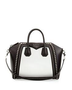 Antigona Medium Satchel Bag w/Studs, Black/White by Givenchy at Neiman Marcus.