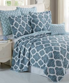 Serenta Honor Quilted 7 Piece Bed Spread Set - The Honor Bed Spread is a beautiful blue pattern bed set that comes with everything you need. Comes with one perfectly weighted bed spread cover, two pillow shams, two euro shams, and two different sized throw pillows. This modern style masterpiece collection will never go out of style and the vibrant colors will not fade under proper care. Comes in King & Queen. #BedSet