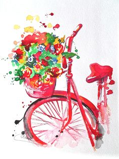 Original Watercolor Summer in Paris Illustration, Bicycle Art, Painting by Lana Moes