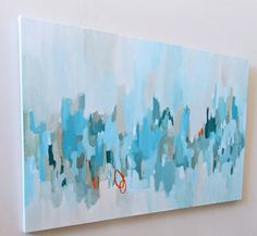 large abstract painting shades of blue aqua 24x36 pamela munger modern art wall decor