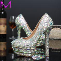 2016 neues Angekommen Mode AB Kristall High Heels Brautkleid Schuhe Strass Runde Kappe Frau Partei Proms Kostenloser Versand //Price: $US $99.20 & FREE Shipping //     #abendkleider