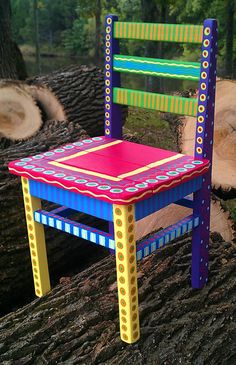 30 Creative DIY Painted Chair Design Ideas - Page 19 of 39 Painted Kids Chairs, Whimsical Painted Furniture, Hand Painted Furniture, Funky Furniture, Colorful Furniture, Paint Furniture, Furniture Projects, Kids Furniture, Furniture Makeover
