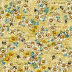 Yellow Daisies & Bees - Paintbrush Studio Cotton - 1/2 yard