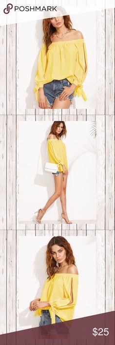 """YELLOW SPLIT SELF TIE SLEEVE BARDOT TOP SZ L Yellow, yellow, you're so mellow, in this lovely split sleeve top. You'll brighten everyone's day. Great with shorts, jeans and casual skirts. Wedges, flats and gladiator sandals...it works.   Size: Large Shoulder:16.5"""" Bust: 46.9"""" Length: 22.4"""" Sleeve Length: 19.7"""" Bicep Length: 16.1"""" Cuff: 9.4"""" Color:Yellow Collar:Off the Shoulder Sleeve Length: Long Sleeve Material: 96% Polyester 4% Spandex Fabric:Fabric has no stretch Split Sleeve Tops…"""