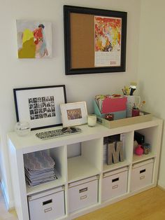 office organization (these office storage boxes look so much nicer than the colored canvas ones Home Office Space, Home Office Decor, Office Spaces, Ikea Office, Office Ideas, Desk Office, Desk Ideas, Work Spaces, Office Nook